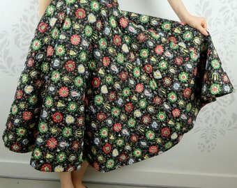 VINTAGE CIRCLE SKIRT 1950s Quilted Print Loomtogs Size Extra Small