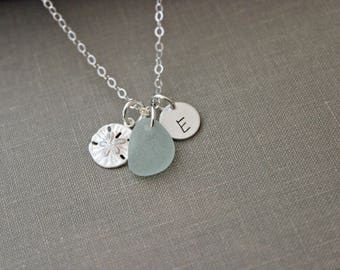 Personalized Charm Necklace with Sterling Silver Sand Dollar Seafoam Sea Glass and Initial Charm Made to Order Wedding Bridesmaid Gift