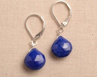 Blue Lapis Earrings, Silver Leverback Earrings, Healing Gemstone Jewelry, Gemstone Drop Earrings, December Birthstone