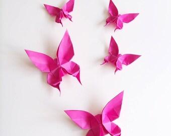 Lot de 5 Papillons Roses Fuchsia en Origami
