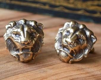 Lion Boyfriend Gift, Brass lion Cufflinks, Lion Fathers Gift, Lion Cufflinks,  Lion Cuff Links, Leo Cufflinks