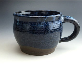 black sapphire GIANT MUG | for coffee soup snacks and rice, oversized, heavy, bold, indigo navy blue w/bright tonal bursts, gloss finish