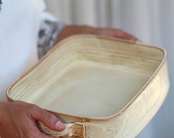 large baking dish, ceramic baking dish, white baking dish, lasagna dish, wedding gift ideas, white baking pan, ceramic casserole dish