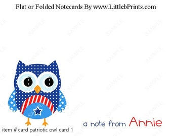 Patriotic Red White Blue Owl Note Cards Set of 10 personalized flat or folded cards