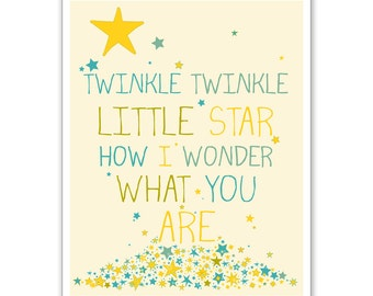 Children's Wall Art / Nursery Decor Twinkle Twinkle Little Star 8x10 inch print by Finny and Zook