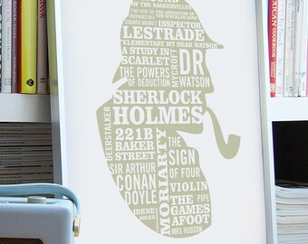 Sherlock Holmes Typographic Print, ELEMENTARY Poster, Sherlock Art. Sherlock Gift