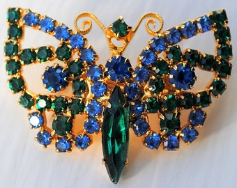 Sweet Blue and Green Rhinestone Butterfly Pin