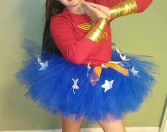 WONDERWOMAN inspired Costume, SuperHero Costume, Wonder Woman Tiara, Cuffs, and Lasso, Toddler Wonder Woman Costume