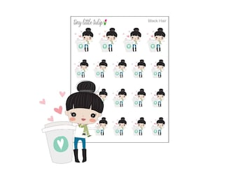 Planner Stickers Coffee Doodle Girl Stickers