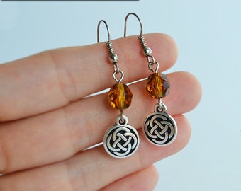 Celtic Knots and Amber Czech Glass Beads Earrings - Claire Fraser Sassenach Jewelry - Outlander inspired