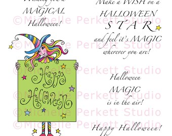 Digital stamp Set Downloadable Images Happy Halloween witches witch broomstick stamping scrapbooking cardmaking