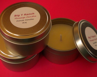 Candle - Massage Candle - Soy Candle - Warm Vanilla Sugar scented -Free U.S. Shipping - 4 oz