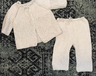 Hand knit metallic silver 24 months baby set, baby pants, baby cardigan sweater, hand knit, holiday outfit, metallic silver baby outfit,