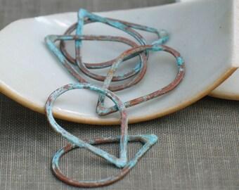 small aqua teardrops- verdigris patina, rustic drop links, aqua green copper drops, forged drop link, forged teardrops, jewelry making