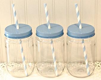 Plastic Mason Jars, 15 Plastic Mason Jar Cups with lids, Metal Straw Hole Lids, Mason Drink Jar,