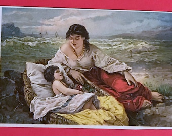Victorian Trade Card 1800s, Summer At The Seaside, Mom and Child, Jaynes Carminative Balsam, Victorian Collectible