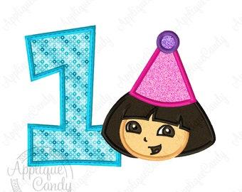 Birthday 1 Dora Applique Machine Embroidery Design Digital File 4x4 5x5 5x7 6x10 explorer party hat shirt INSTANT DOWNLOAD