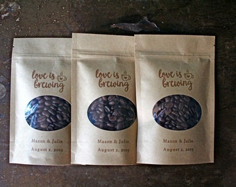Personalized wedding favor bags, coffee favor bags, Kraft zipper top window bags for coffee beans, ground coffee favors, Love is Brewing