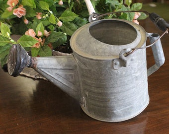 Vintage Galvanized Watering Can, Ribbed Galvanized Watering Can