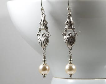 Art Deco Style Earrings, Swarovski Pearls, Sterling Silver Plated Connector, Edwardian Earrings, 1920s, Downton Abbey, Handmade UK, Gifts