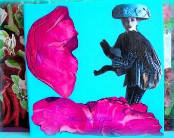 Attack mushroom painting collage original 20 x 20 cm.
