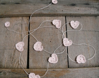 Wedding garland, Crocheted hearts on Garland, Wall Hanging, Crochet Wedding pink Garland, crochet ornaments, embellishment, linen applique