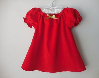 Red corduroy peasant style dress for babies and toddlers