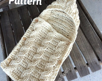 PATTERN, crochet swaddle pattern, cable crochet pattern, crochet infant swaddle pattern, baby cocoon pattern, baby swaddle pattern.