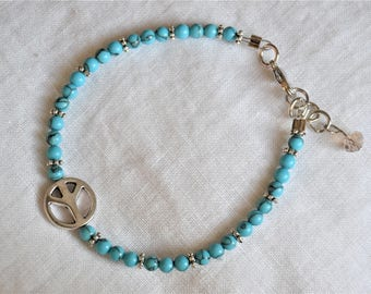 TURQUOISE PEACE BRACELET Turquoise Beaded Peace Sign Hippie Bracelet