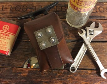"Vintage Wasteland Belt Pouch With Riveted Metal - ""The Western"""