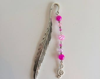 Bookmarks feather silver treble clef and pink beads