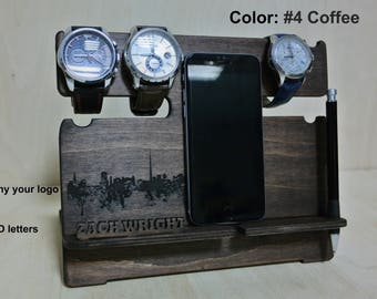 Best Gift for Men, NightStand Anniversary gift, Wood Desk organizer, Night stand Docking station, Glasses holder, phone holder, gift for dad