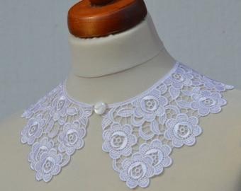 White Peter Pan Collar, Cotton, White Detachable Collar and  button, Lace Collar, Lace Necklace, Detachable Collar Necklace, gift for her