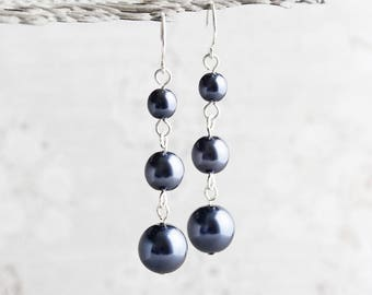 Dark Blue Earrings, Navy Blue Earrings on Silver Plated Hooks, Blue Pearl Dangles, Pearl Wedding Jewelry