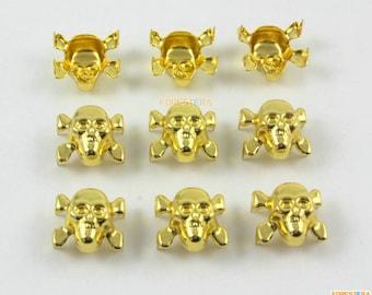 13mm Gold Skull Studs Metal Studs (JSK13)