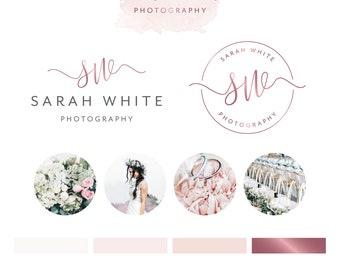 Watercolour Logo Design, Photoraphy Logo, Photography Watermark, Premade Logo, Business Card, Branading Package, Rose Gold Logo, Brand Kit