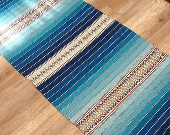 Blue handwoven wool rug with brown and yellow yellowish brown pattern