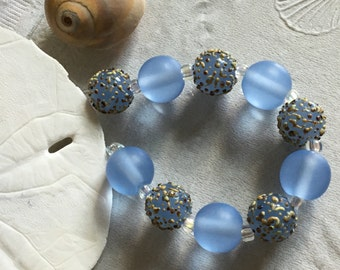 Handmade Lampwork Glass Beads SRA Pale Blue Sea Pearl Texture Sandies (10)