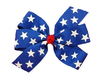 4th of July 4 inch Blue with Stars Pinwheel Bow with Red Center Knot