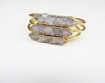 Druzy Bangle Bracelet - Natural Gemstone Jewelry