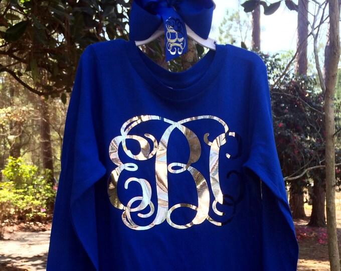 Monogram Shirt, Monogrammed Long Sleeve Shirt, Monogrammed Hair Bow, Set, Monogrammed gifts, Girl's and Women's Sizing