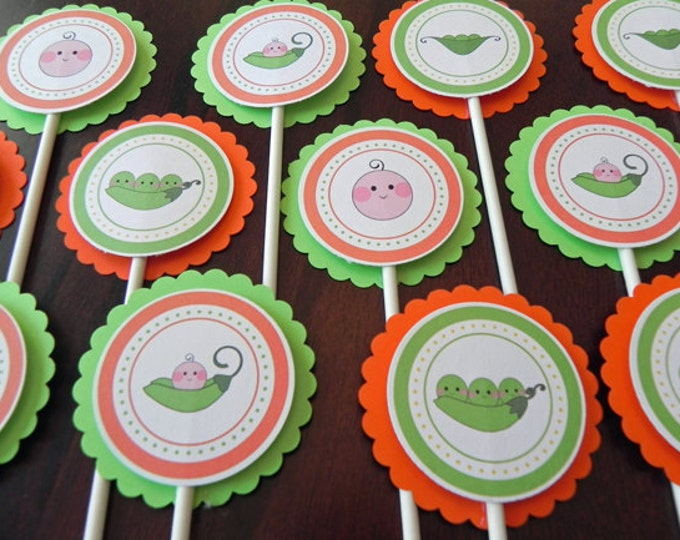 Cupcake Toppers: Baby Pea Pods - Baby Shower Decorations