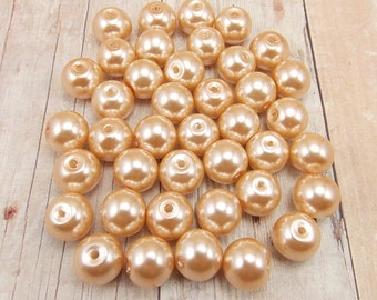 10mm Glass Pearls - Champagne - 40 pieces - Medium Beige - Flesh