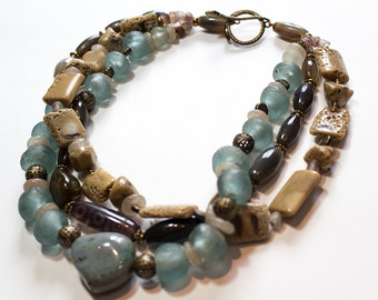 Multiple Strand Layered Bamboo Coral, Smoky Quartz, Frosted Glass, Pyrite, Agate Necklace OOAK