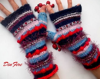 Women L 20% OFF Ready To Ship Bohemian Fingerless Boho Mittens Cabled Gloves Hand Knitted Striped Warm Accessories Wrist Warmers Winter 1171