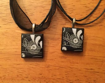 Scrabble Tile Necklace: Black and White