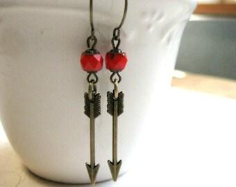 Brass arrow earrings, red glass beads, tribal earrings, arrow charms, dangle earrings