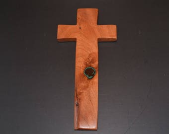 Unique Wall Cross; Turquoise Inlay; Wood Wall Cross; Cross Wall Decor; Wooden Cross; Christian Gift; Free Ground Shipping cc35TQ-1063017