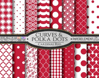 Cardinal Red Polka Dot Digital Paper: Round Digital Polka Dot Background - Quatrefoil Scrapbook Paper with Red Printable Circle Patterns