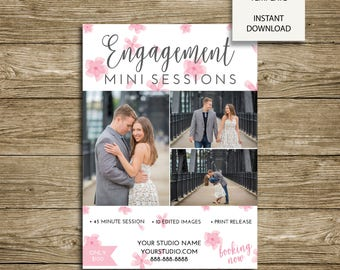 INSTANT DOWNLOAD - Cherry Blossom Engagement Mini Session Marketing - 5x7 Photoshop Template